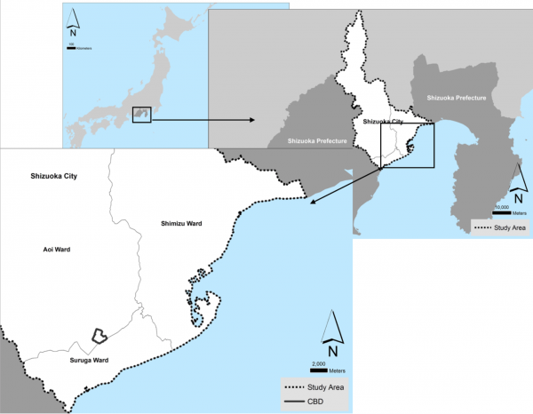 Figure 1: Location of the city of Shizuoka, its three wards and its Central Business District (CBD)