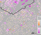 Figure 8: Results of the 24 hour building population estimation method for the city of Shizuoka at 12pm